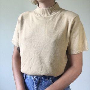 Vintage beige tan knit mock neck sweater tee